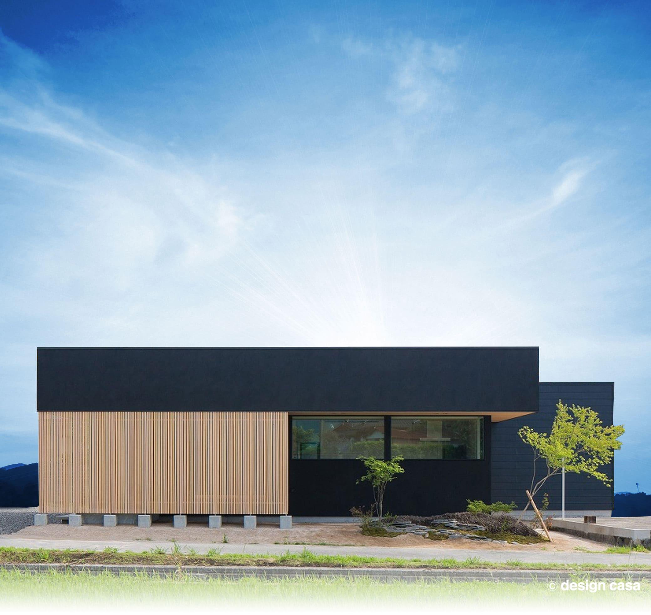 愛知の大人カッコイイ和モダンの家の外観 黒を基調としたシンプルで洗練された印象