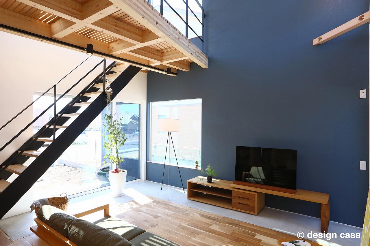 愛知で30坪の2階建て住宅のリビング階段の実例