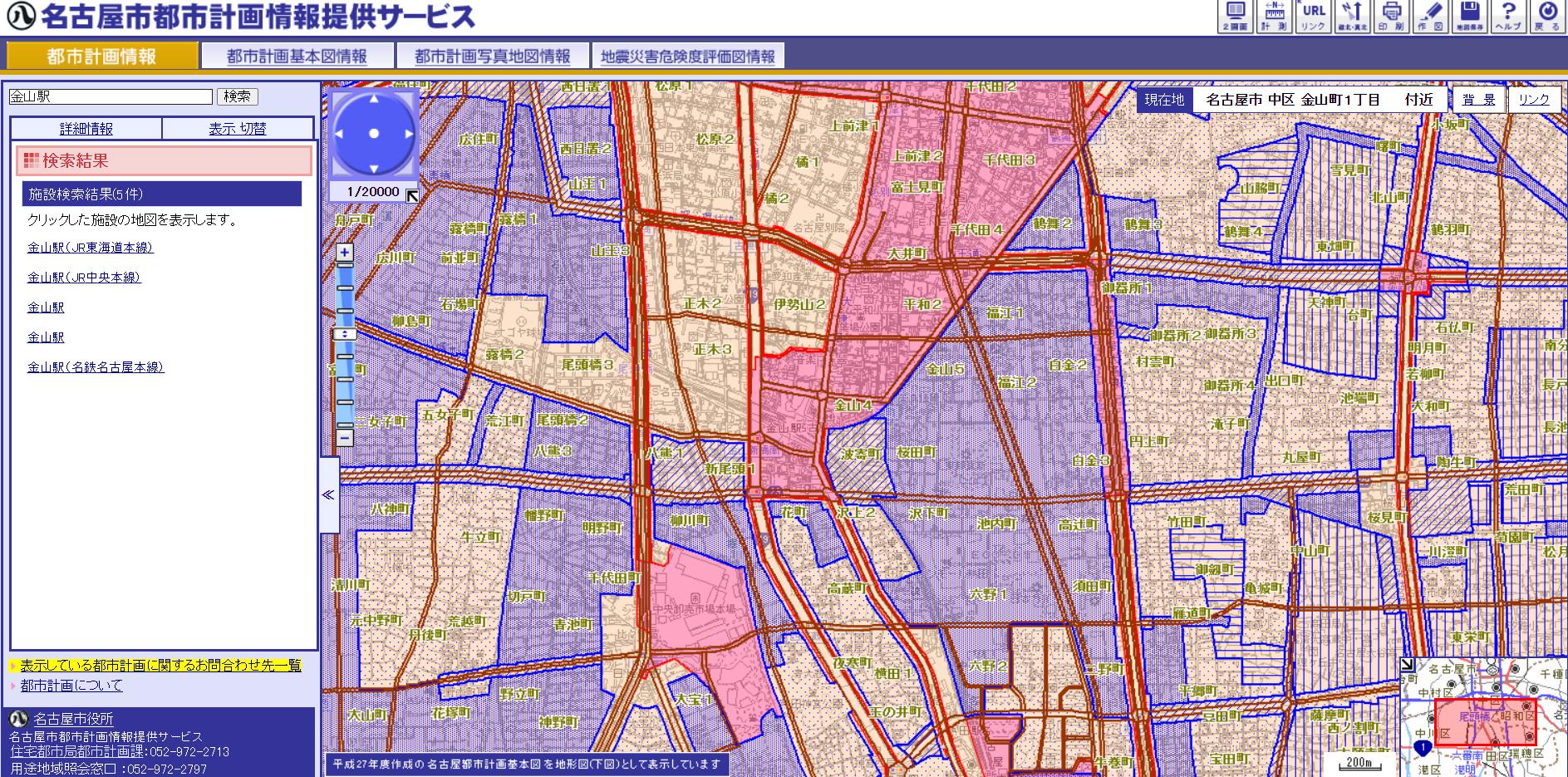 名古屋市「都市計画情報提供サービス」中区金山駅周辺の防火地域、準防火地域の分布状況:かなり広範にエリア指定がされている