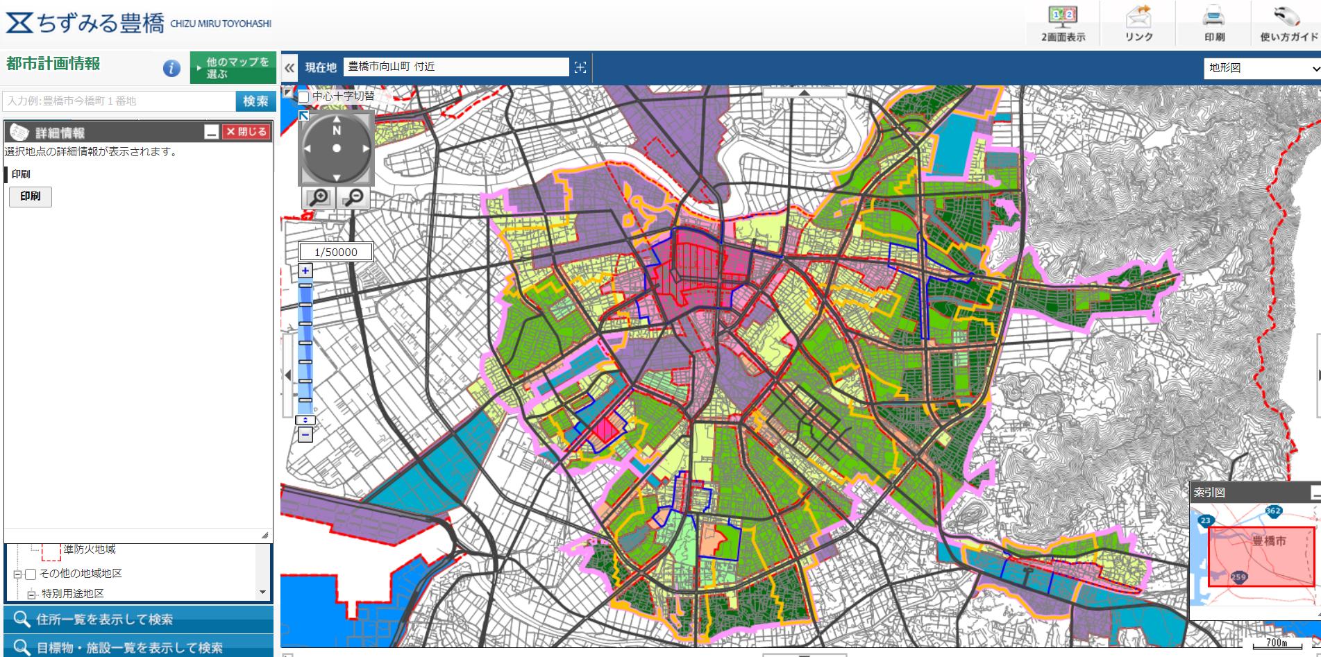 豊橋の高度指定の状況(第1種低層住宅専用地域、第2種低層住宅専用地域)
