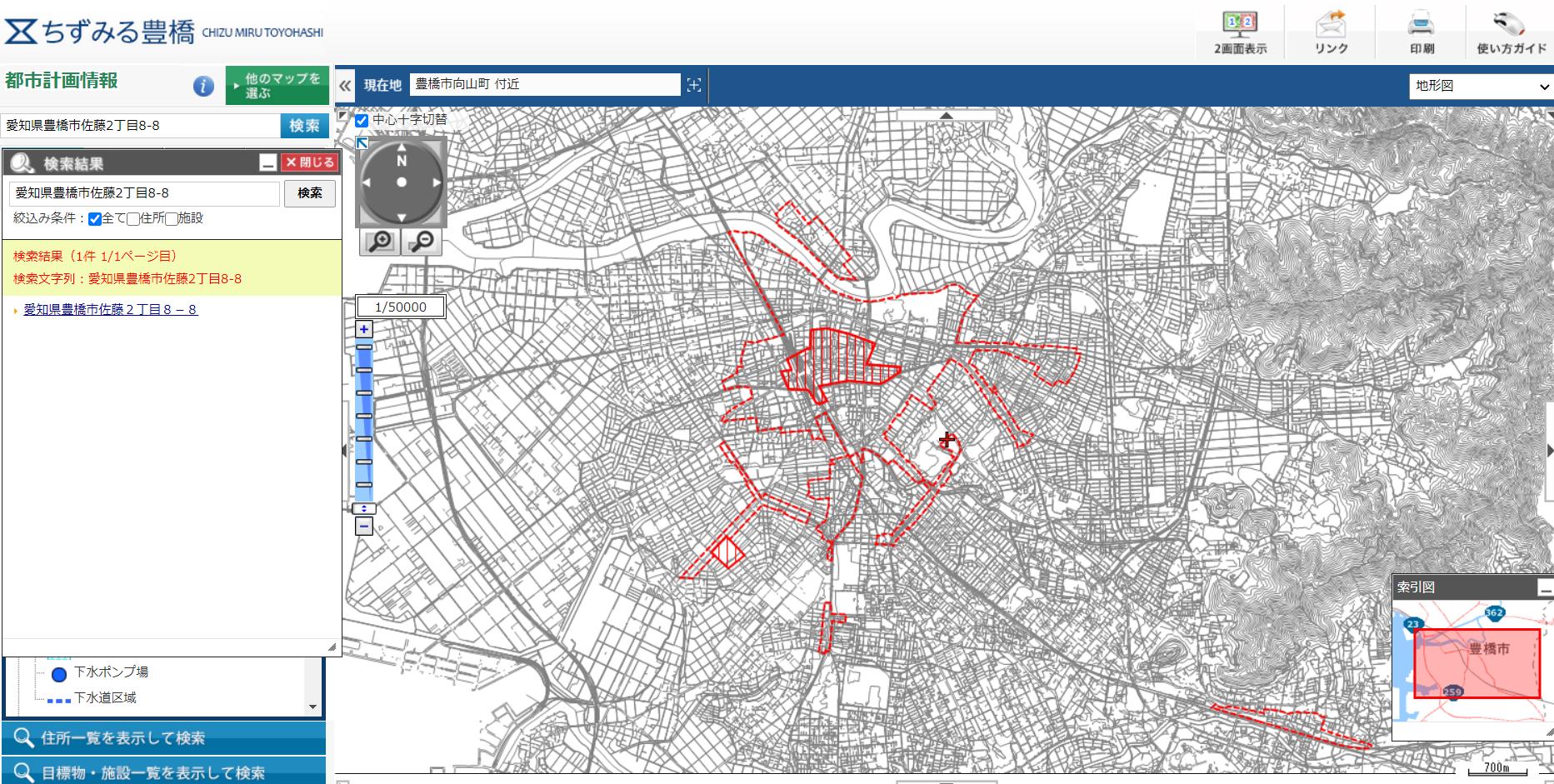 豊橋市「ちずみる豊橋」の都市計画情報による防火地域、準防火地域の分布図:豊橋は駅周辺のみが指定されている