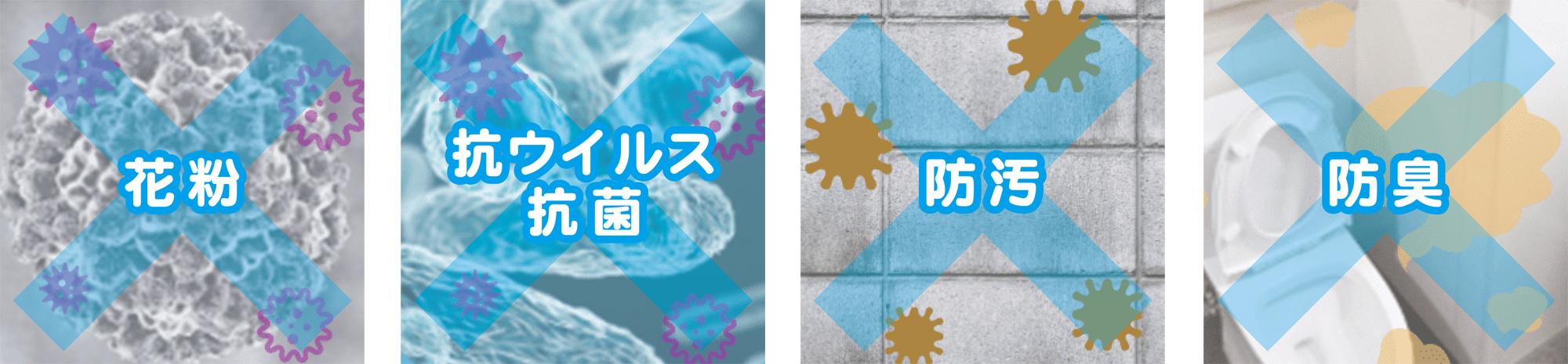 光触媒コーティングの花粉、抗ウイルス・抗菌効果