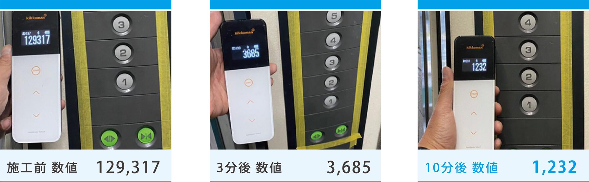 施工後のエレベーターのボタン部分の清浄度を測定