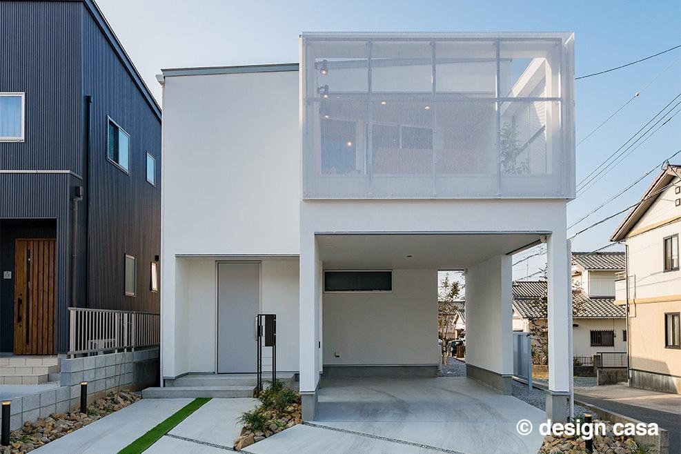 北道路に建つ2階リビングの家(外観)
